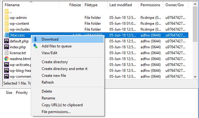 mudar as permissões dos arquivos pelo FileZilla para public_html