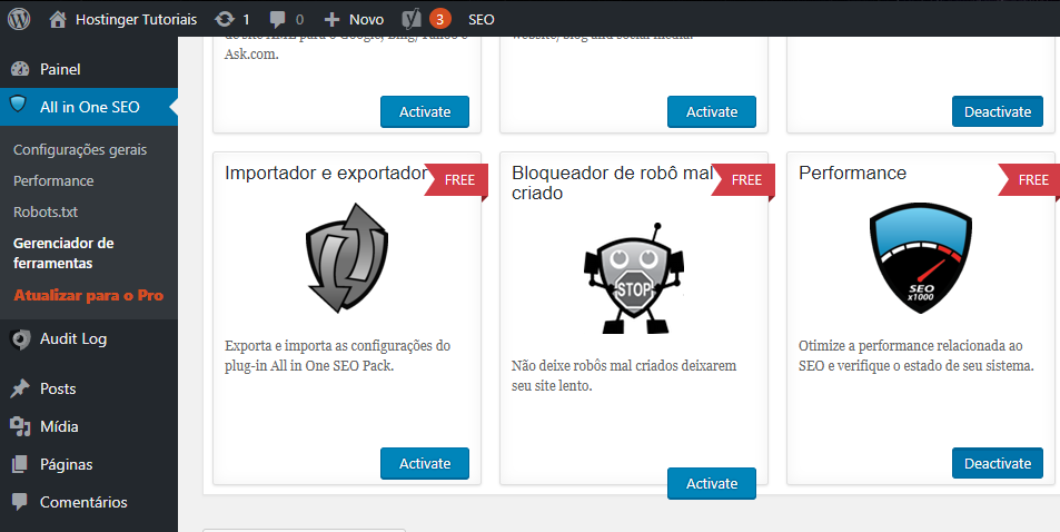 bloquear robô mal criado usando o plugin all in one seo pack no wordpress