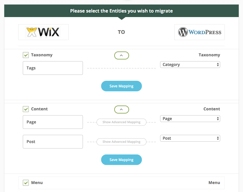 plugin options cms2cms to migrate to wordpress wix