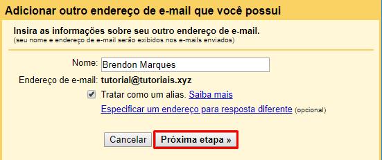 botão de próxima etapa após preencher informações de conta de email no gmail