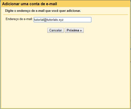 preencher informações de conta de email no Gmail para adicionar conta de email