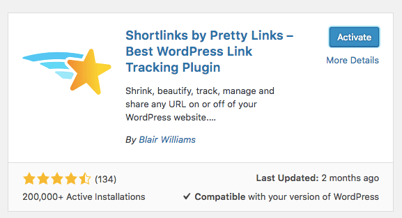 instalando o plugin pretty links