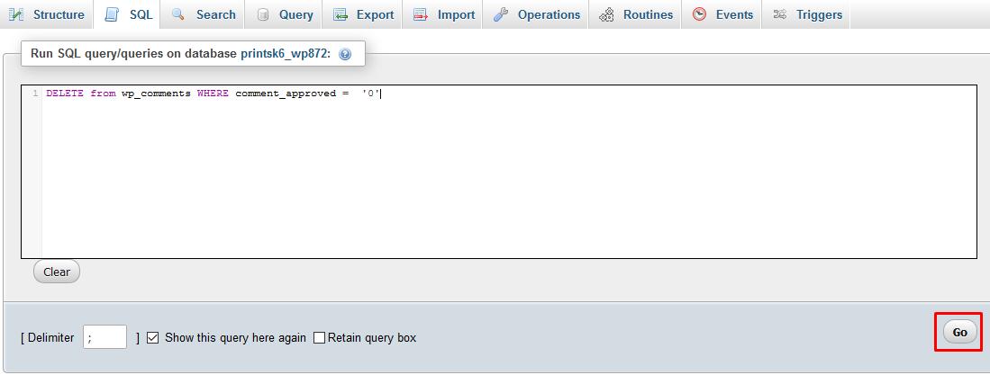 botão go ajuda você a remover os comentários do wordpress pelo phpMyAdmin