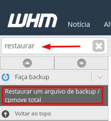 restaurando o arquivo no whm