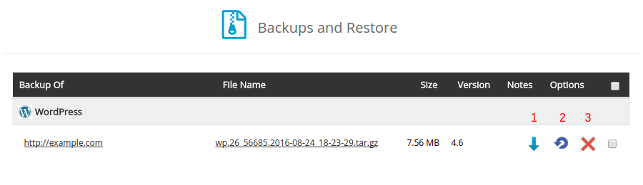 restaurando o backup do seu site