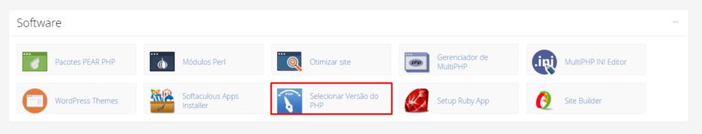 selecionando a versão do php dentro do painel