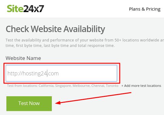 verificando site online pelo site24x7.com