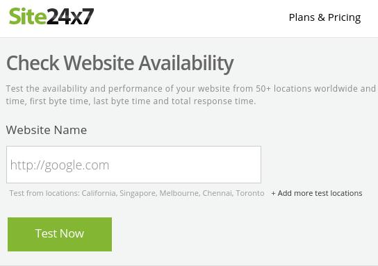 verificando site online no site24x7.com