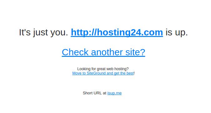 mensagem de confirmação que o site está online no downforeveryoneorjustme.com