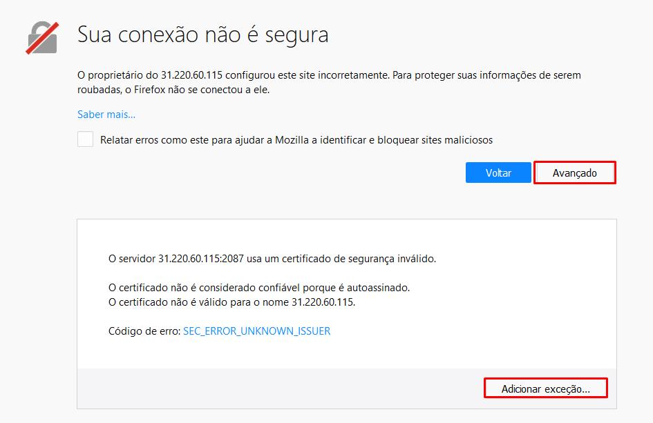 notificação de mensagem que o acesso ao whm pela internet não é segura