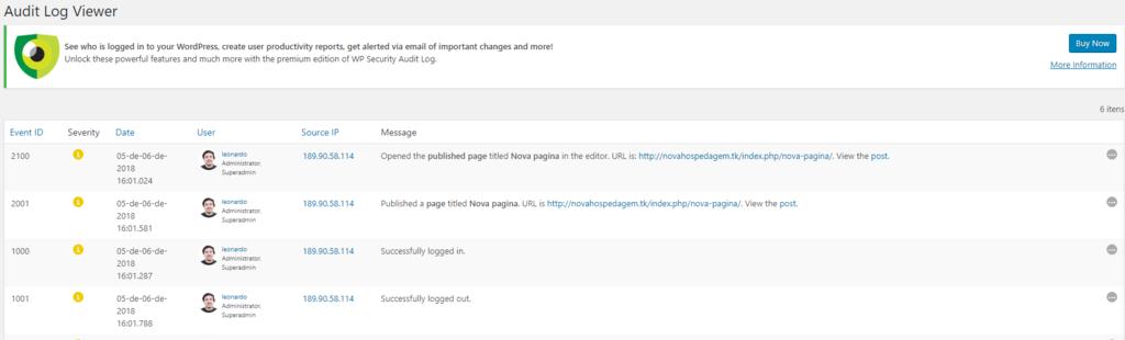 tela de banco de dados do plugin wp security audit