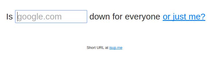 verificar se um site está online no downforeveryoneorjustme.com