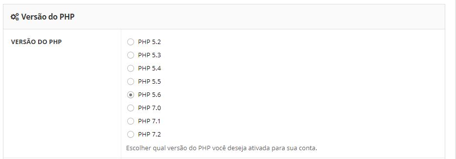 mudar e atualizar a versão do php do seu site