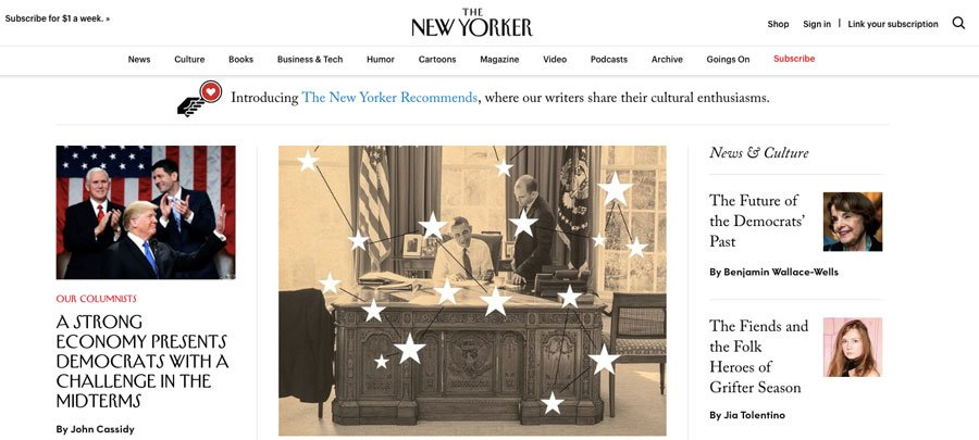 página inicial do site new yorker