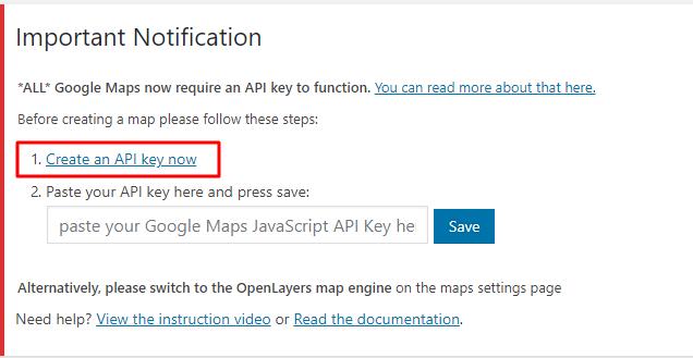 tela de chave API no wp google maps