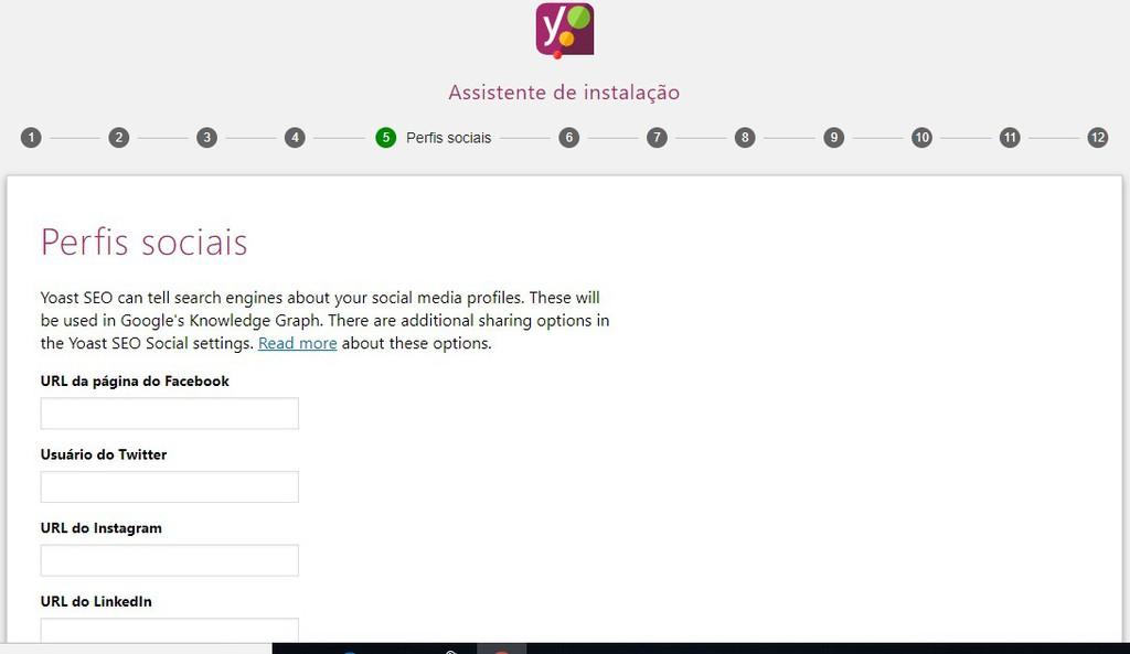 Assistente de instalação do Yoast no WordPress