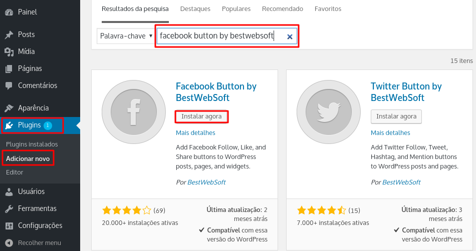 install plugin Facebook Button by BestWebSoft