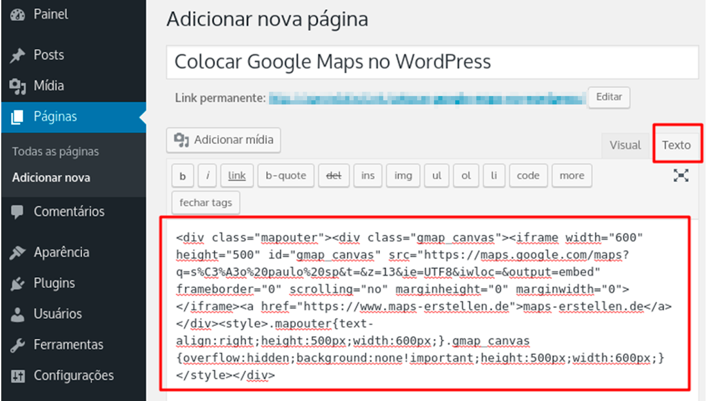 inserindo código html do google maps numa nova página no wordpress