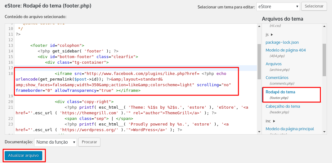 inserting button code enjoy the footer wordpress php file