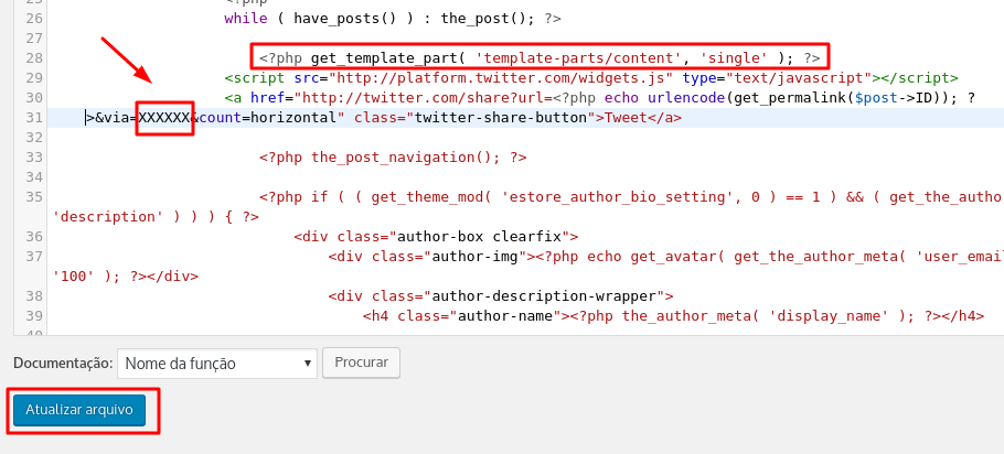 inserindo botão tweetar por código no wordpress