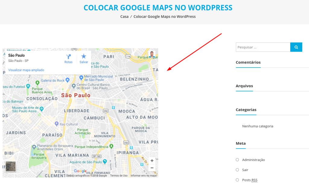 mapa colocado numa página no seu blog wordpress