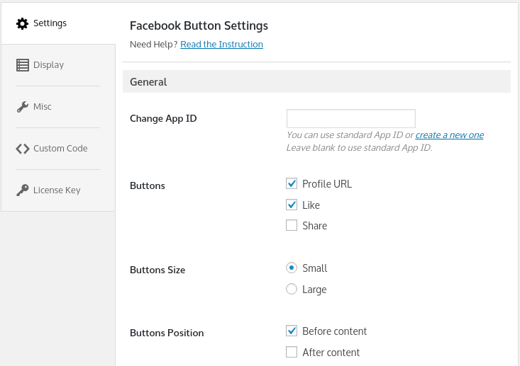 button configuration options enjoy the facebook wordpress
