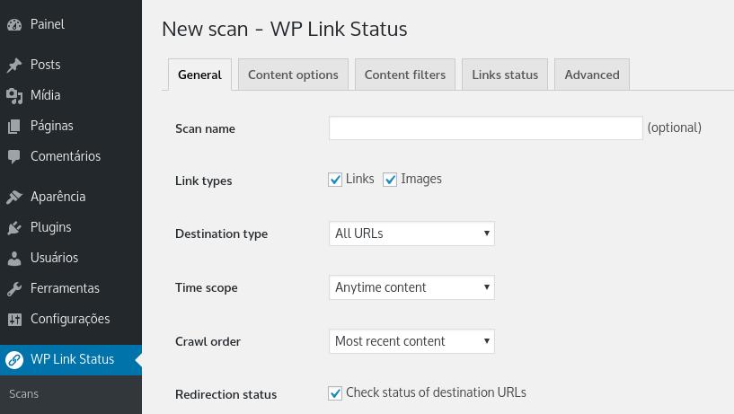 configurando checagem de links no wp links checker