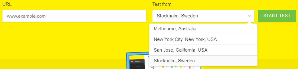 teste de velocidade ferramenta pingdom em várias localidades