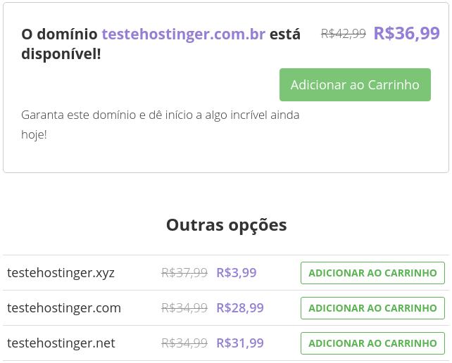checando domínios disponíveis na Hostinger