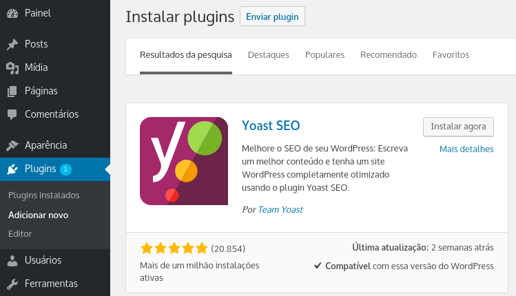 Instalar plugin Yoast para adicionar Twitter Cards no WordPress