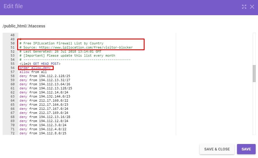 bloquear acessos de ip via htaccess