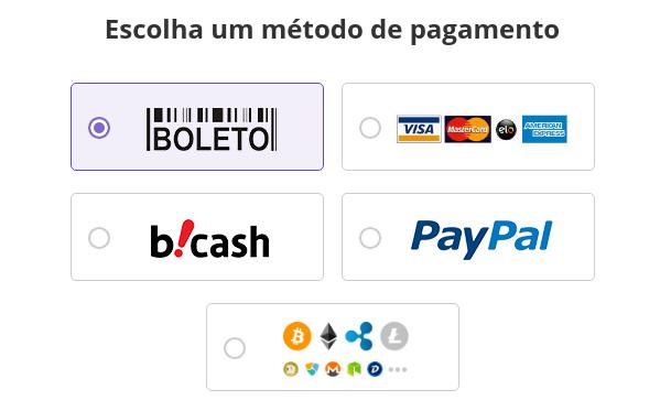 formas de pagamento de domínio