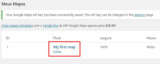 tela de criação de mapas no wp google maps