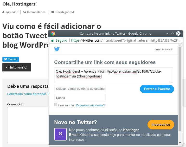 campo de edição do tweet no twitter com nome de usuário