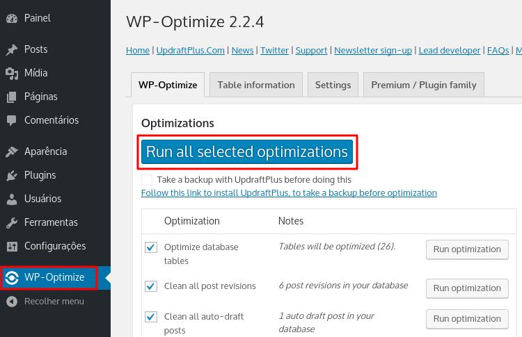 otimização de banco de dados wordpress pelo plugin wp optimize