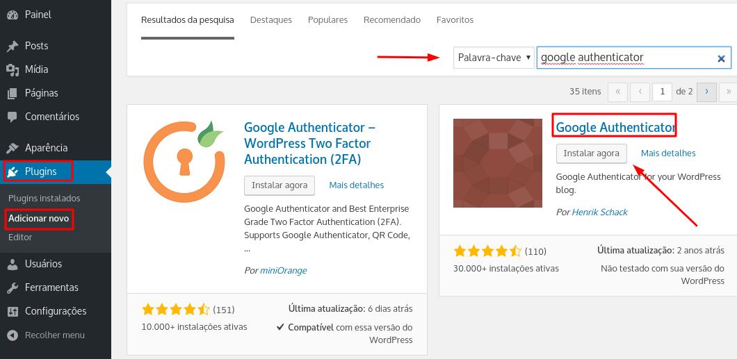 instalação e ativação do plugin Google Authenticator no WordPress