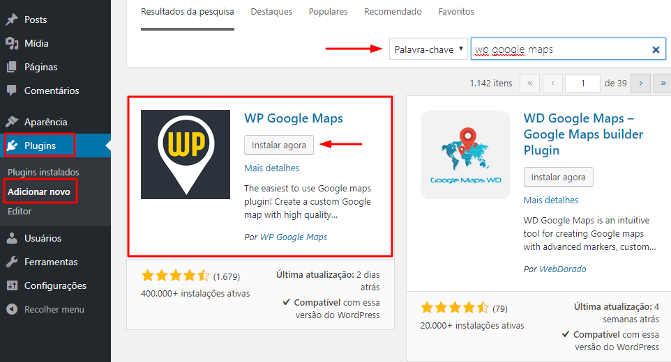 instalando plugin wp google maps