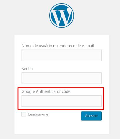 inserindo código no google authenticator no login do wordpress