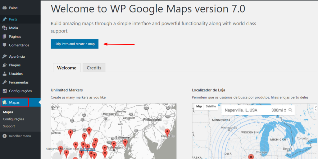 tela inicial do plugin wp google maps