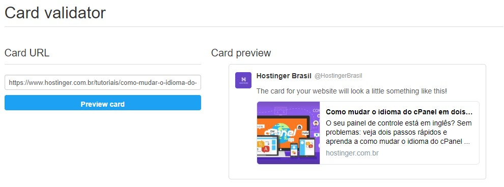 Como validar cards após adicionar twitter cards no wordpress