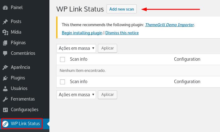fazer nova scan e verificar por links quebrados no site wordpress