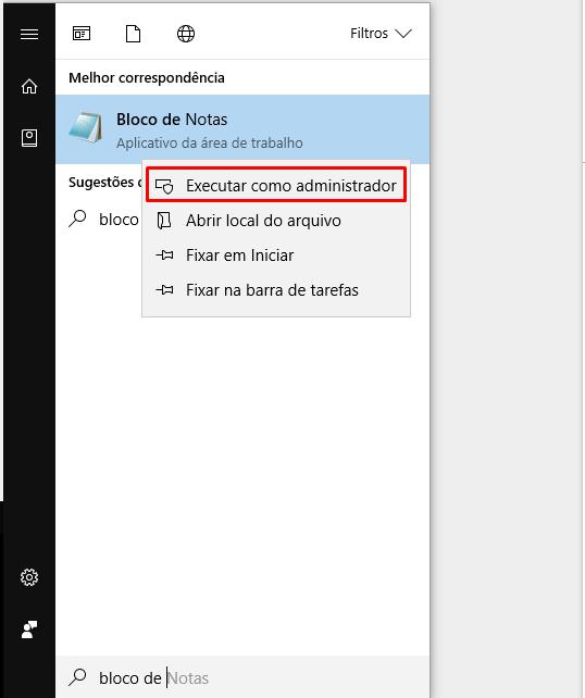 abrir bloco de notas como administrador