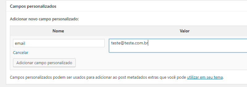 adicionando campos personalizados no CMS WordPress