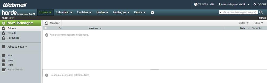 alterar fuso horário webmail via horde