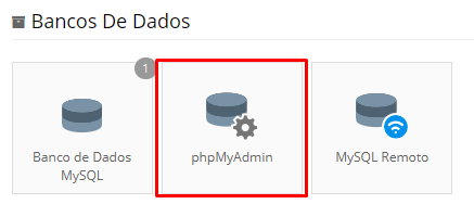 acessando banco de dados phpmyadmin