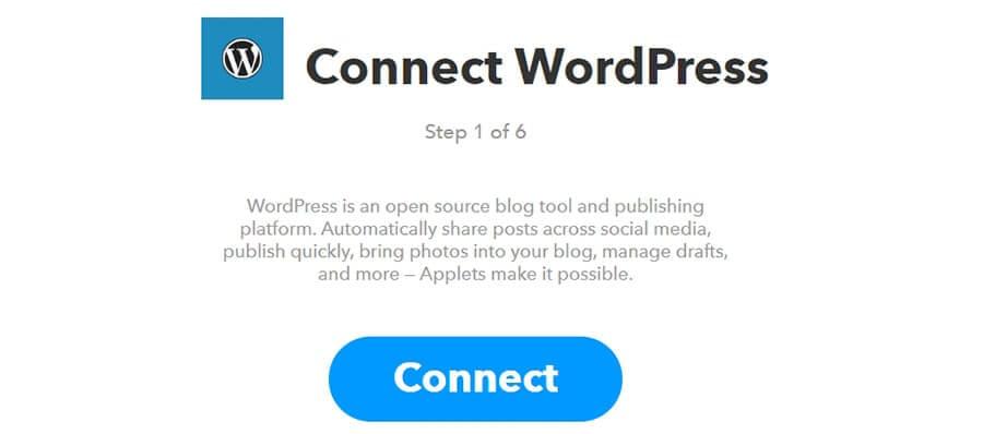 clique em connect WordPress