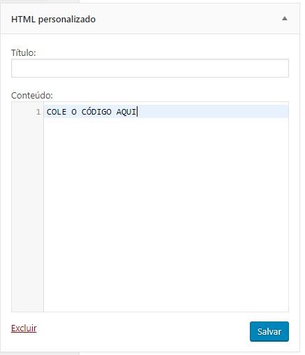 colar código html personalizado