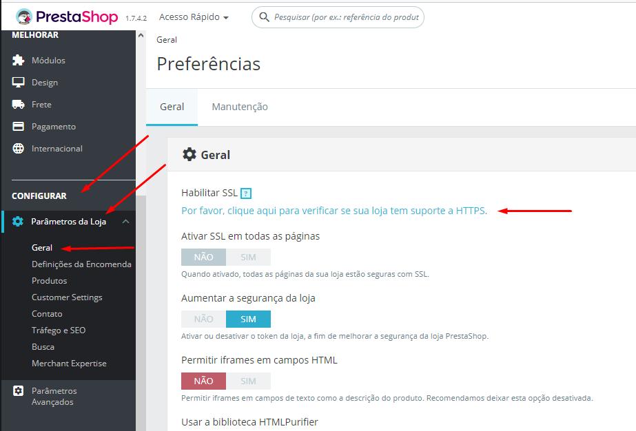 verificar se domínio já possui SSL antes de ativar no prestashop