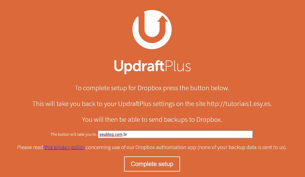 completar confgurações do dropbox