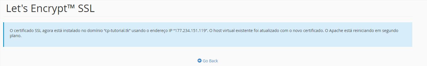 Conclusão da instalação do certificado ssl
